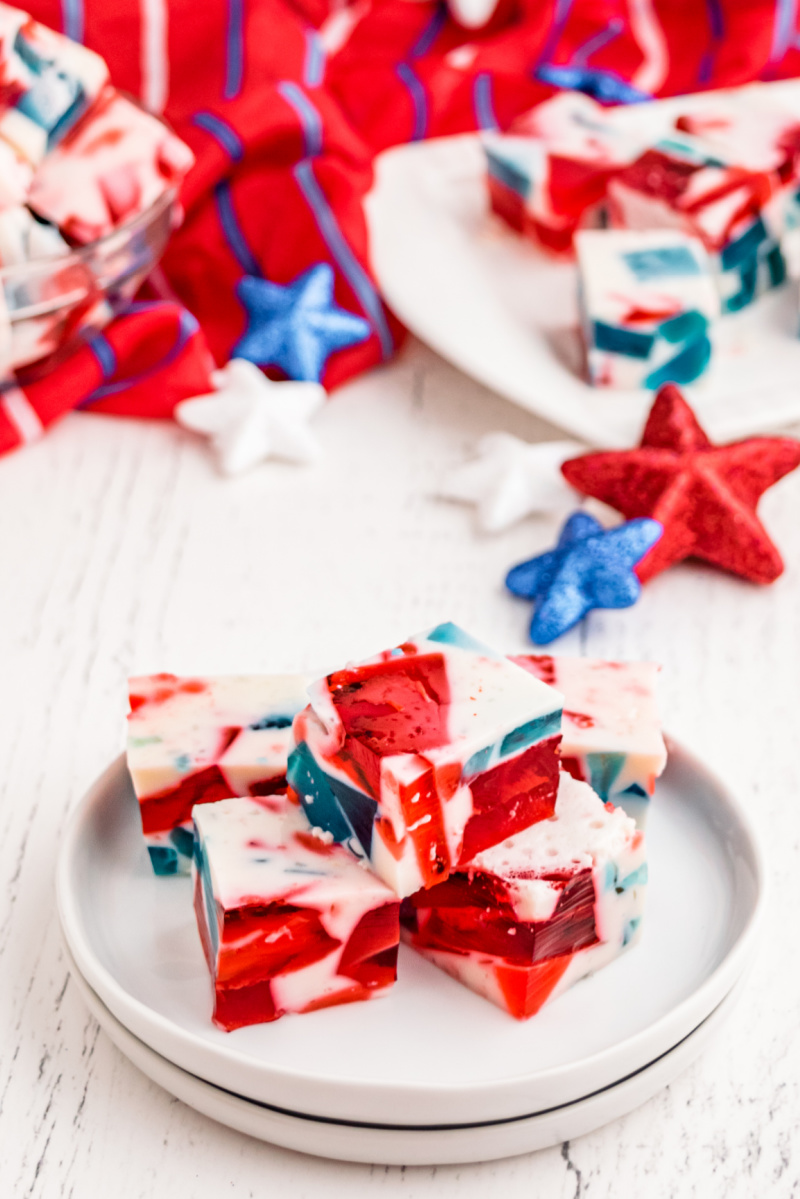 red white and blue jello on white plate
