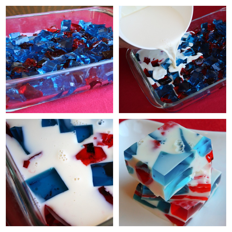 4 photos showing process of making patriotic jello