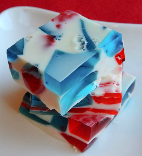 slices of patriotic jello stacked on white plate
