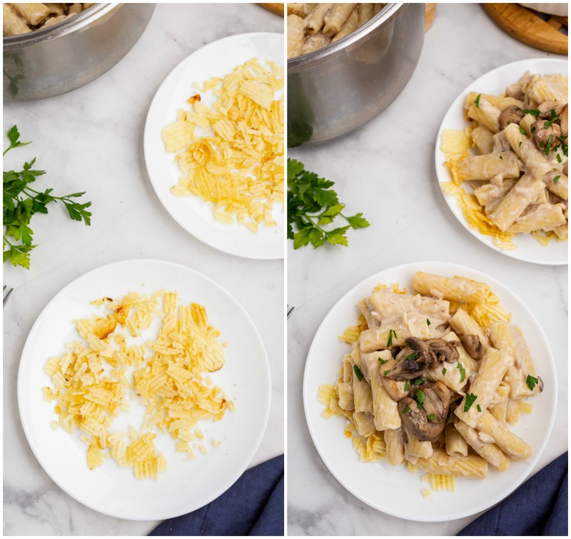 serving tuna casserole photo showing potato chips on plate, then tuna casserole on top in second pic