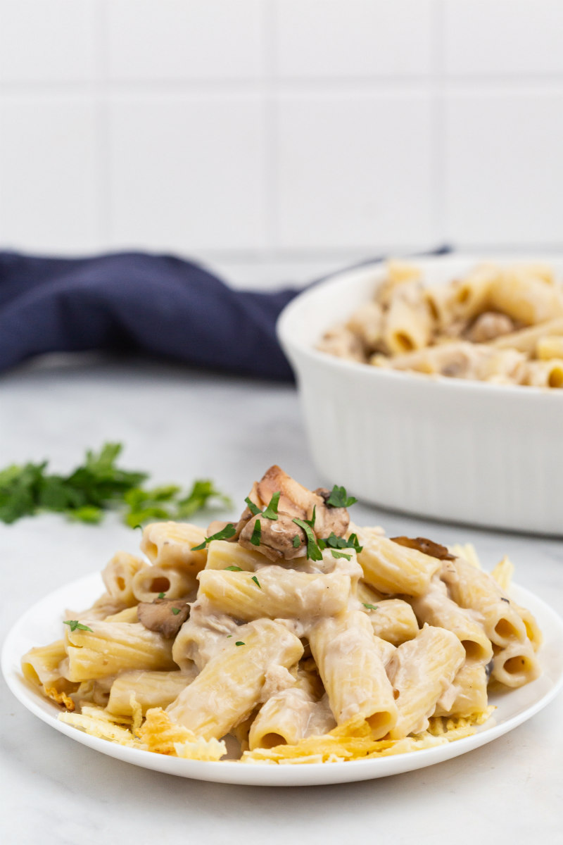 tuna casserole on a white plate