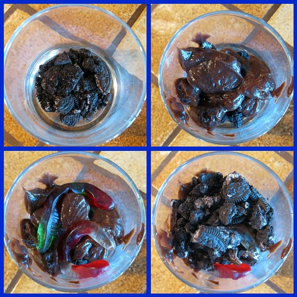 four photos showing process of assembling gummy worm mud cups
