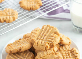 white plate of peanut butter cookies