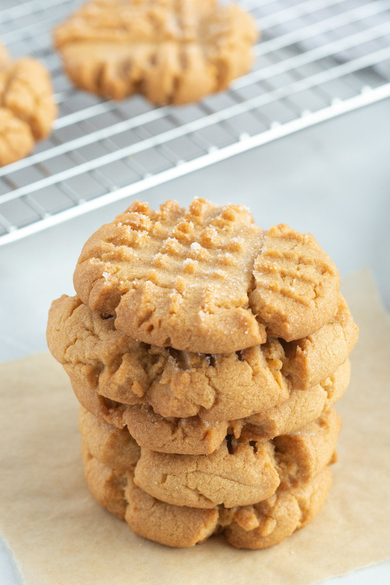 stack of four peanut butter cookies