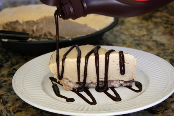 Chocolate drizzle on Peanut Butter Pie