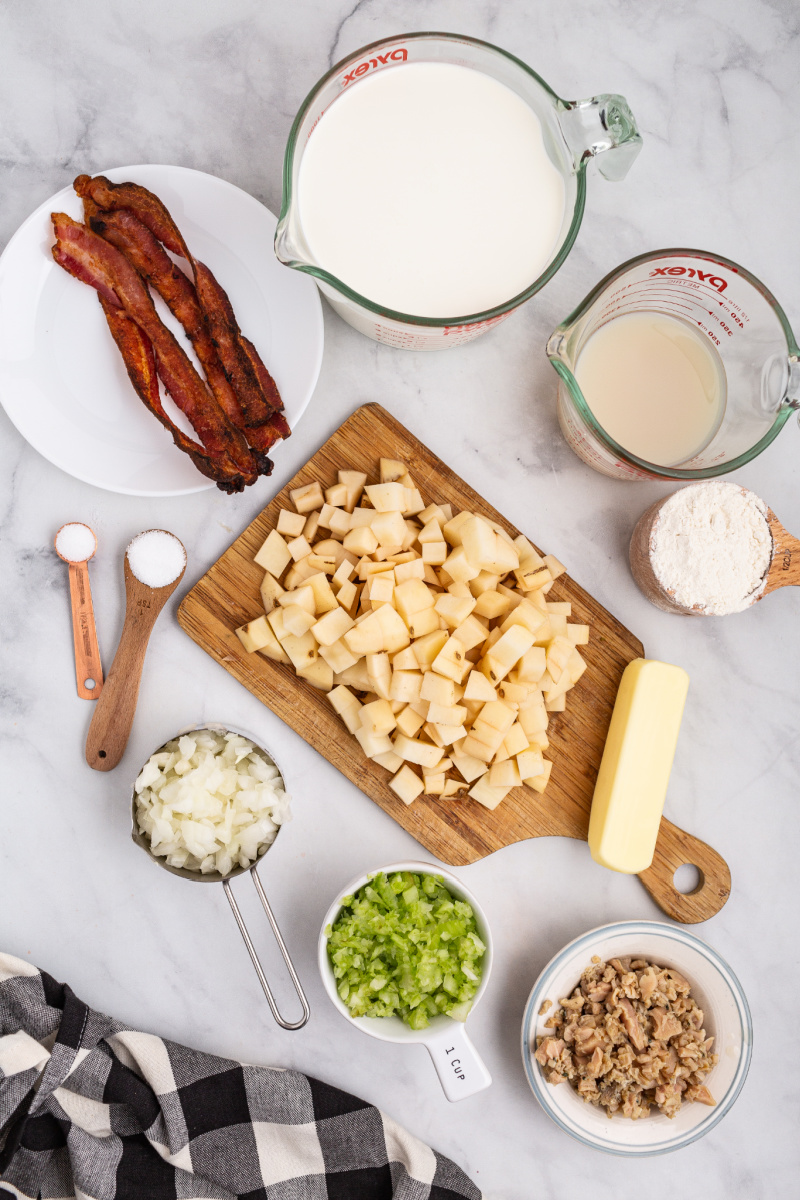 ingredients displayed for making clam chowder