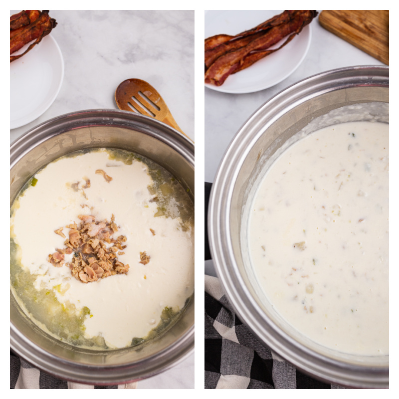 two photos showing process of making clam chowder