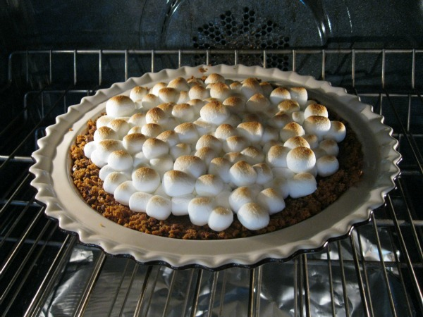 S'Mores Pie in the oven