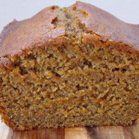 loaf of pumpkin bread sliced open