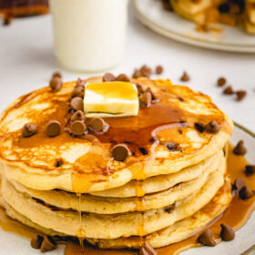 stack of peanut butter chocolate chip pancakes