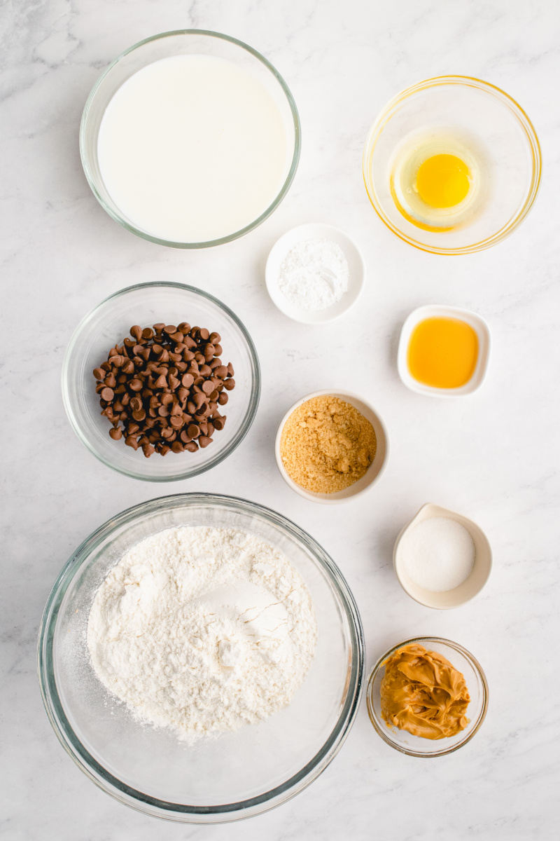 ingredients displayed for peanut butter chocolate chip pancakes