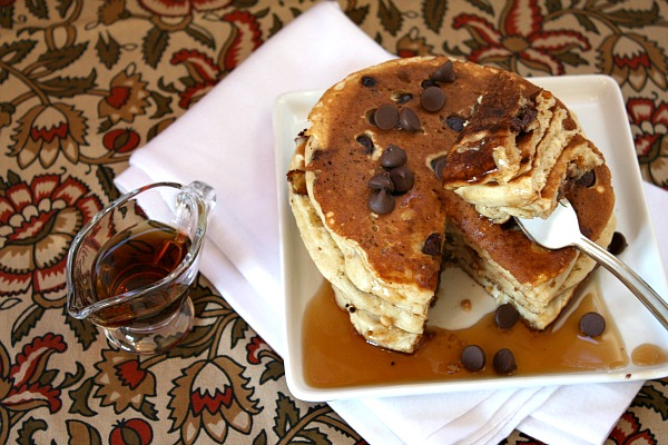 Eating Peanut Butter Pancakes with Chocolate Chips