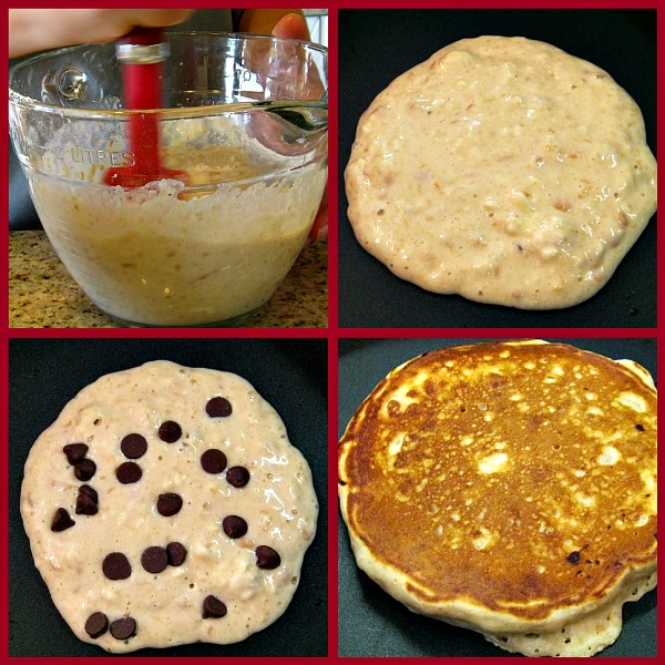 making Peanut Butter Pancakes with Chocolate Chips