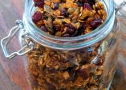 jar with pumpkin granola in it