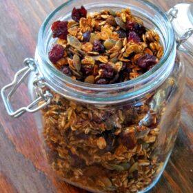 jar with pumpkin granola in it