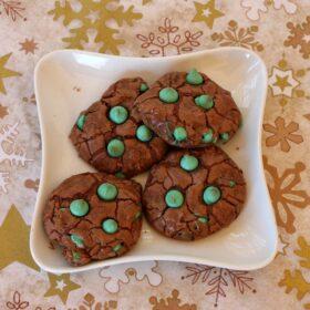 polka dot chocolate cookies on a white plate
