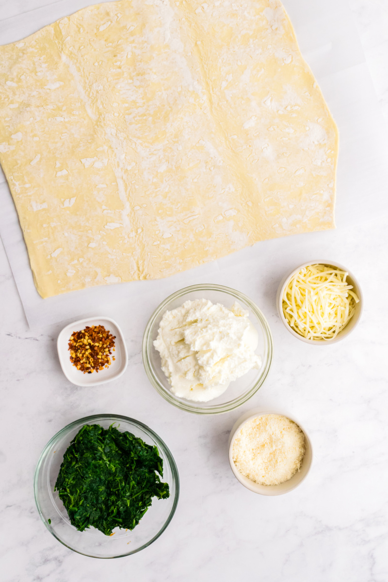 ingredients displayed for spinach palmiers