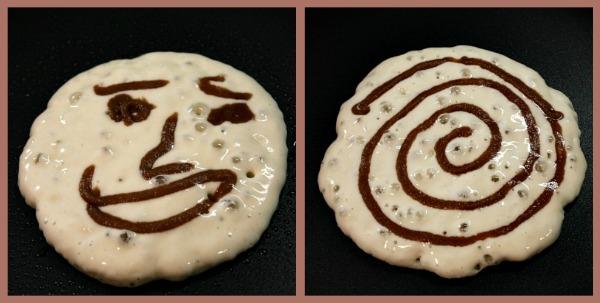 making Maple Cinnamon Roll Pancakes
