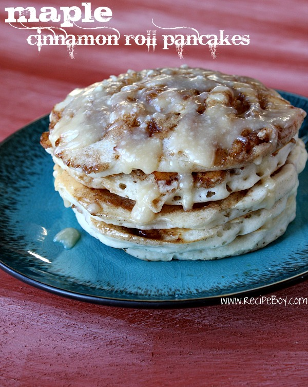 stack of Maple Cinnamon Roll Pancakes