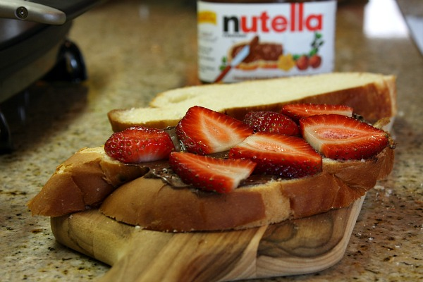making Strawberry Nutella Panini