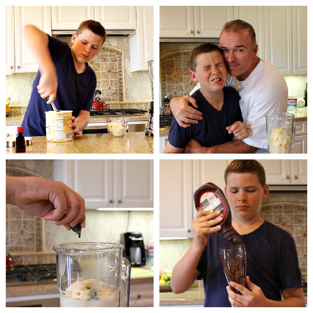 four photos showing process of making shamrock shake
