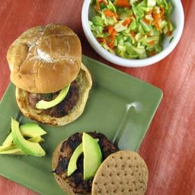 Jerk Turkey Burgers with Mango Slaw
