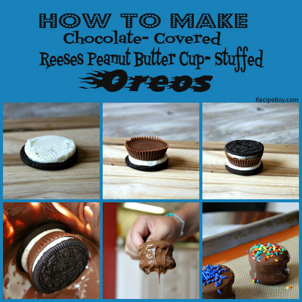 How to Make Chocolate Covered Peanut Butter Cup Stuffed Oreos