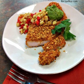 Tortilla Crusted Turkey Cutlets with Spicy Avocado Sauce