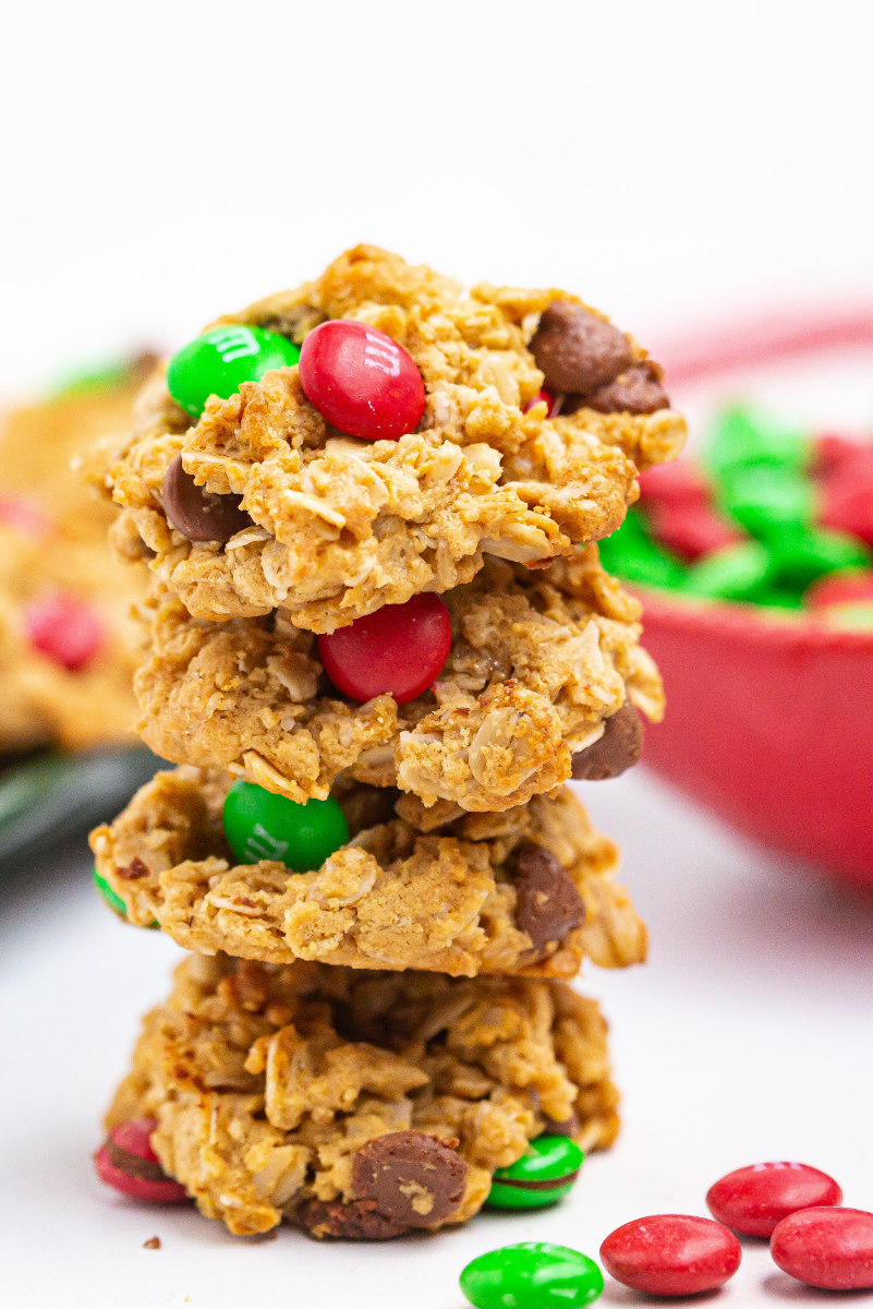 christmas monster cookies in a stack