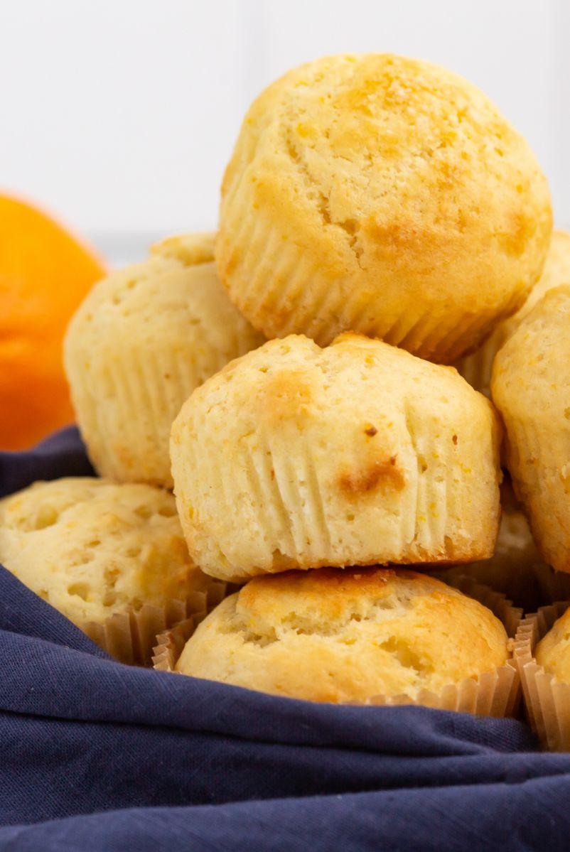 stack of orange ricotta muffins