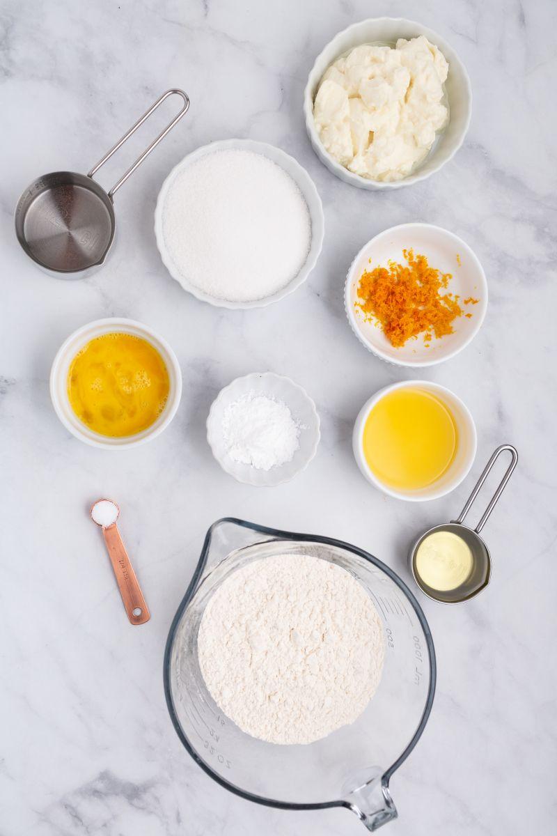 ingredients displayed for orange ricotta muffins