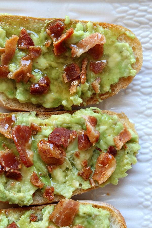 Avocado Toast topped with Bacon and Honey