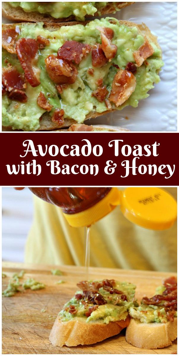 Easy Avocado Toast recipe with Bacon and Honey from RecipeBoy.com #avocado #bacon #toast #recipe #RecipeBoy