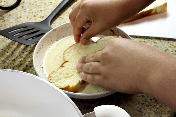 Vanilla Brown Sugar French Toast prep