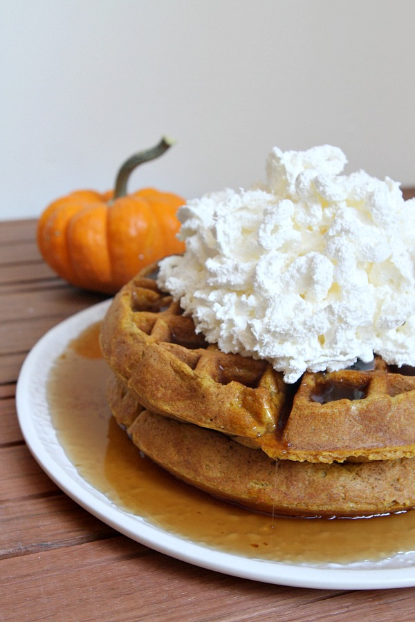 Pumpkin Waffles with Whipped Cream