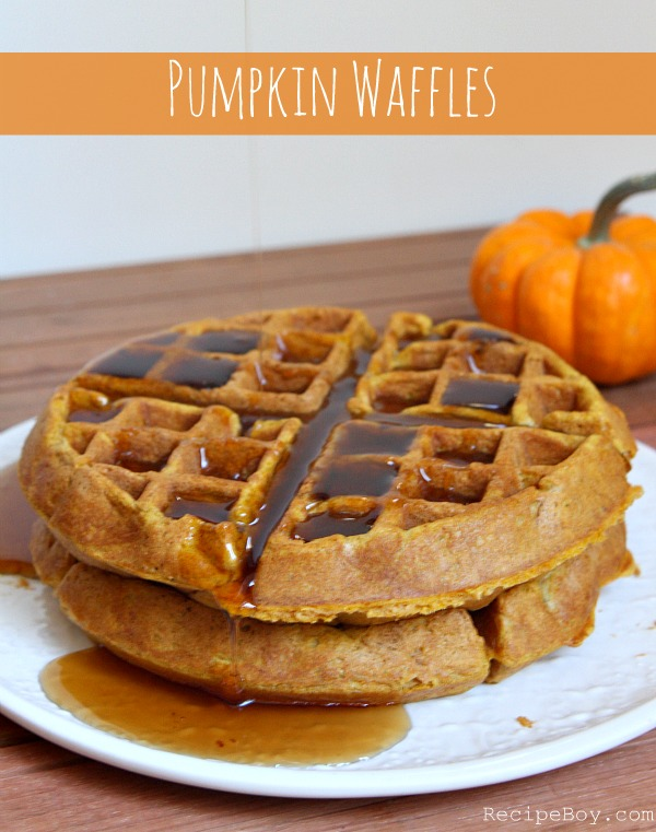 Pumpkin Waffles with syrup