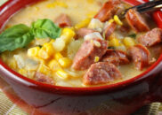 bowl of sausage and corn chowder