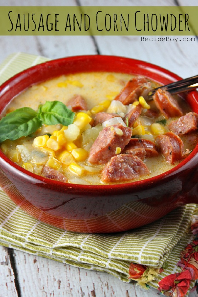 bowl of sausage and corn chowder