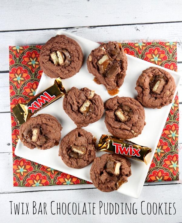 Twix Bar Chocolate Pudding Cookies #recipe