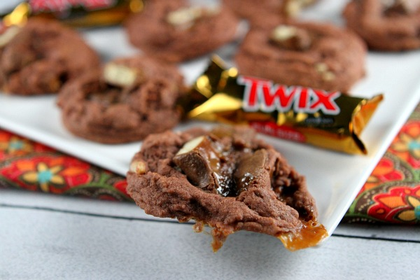 Twix Bar Chocolate Pudding Cookies