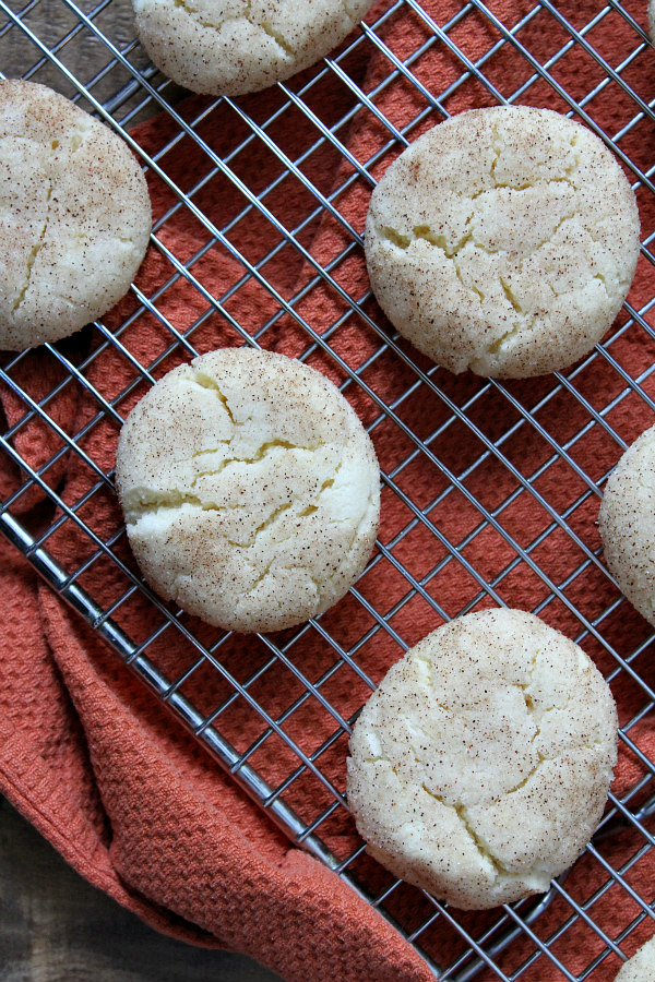 cake mix snickerdoodles on a cooling rack