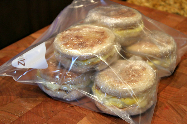Easy to Make Ahead Freezer Breakfast Sandwiches - a super quick solution for eating a quick breakfast or grab and go on busy mornings! Recipe from RecipeBoy.com