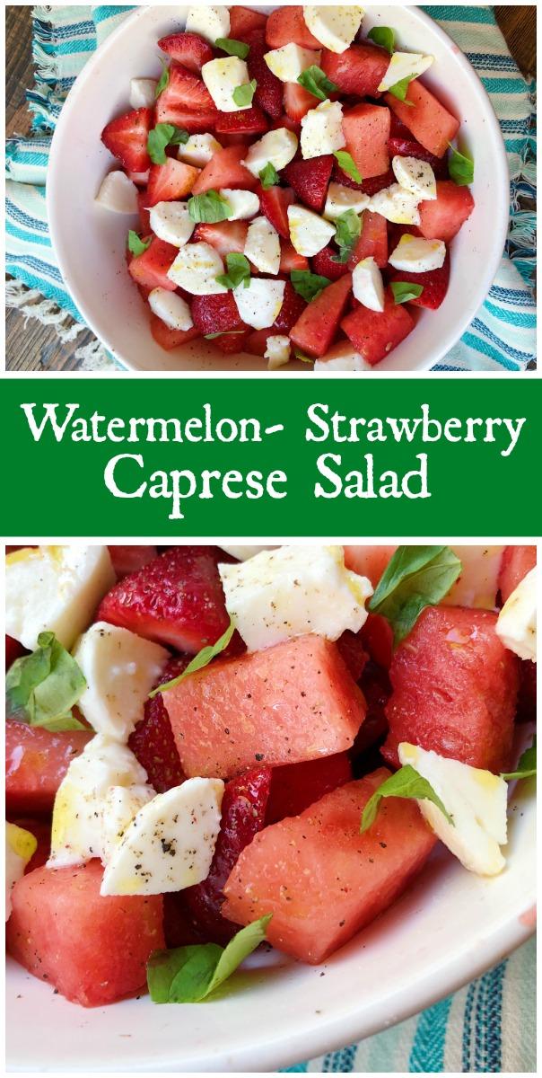Watermelon Strawberry Caprese Salad recipe from RecipeBoy.com #watermelon #strawberry #caprese #salad #RecipeBoy