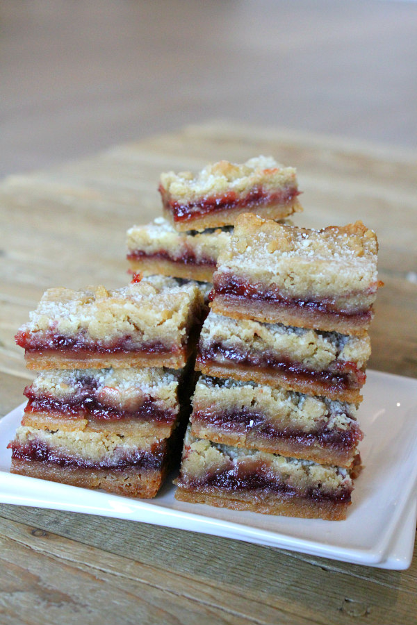 stack of Raspberry Shortbread Bars
