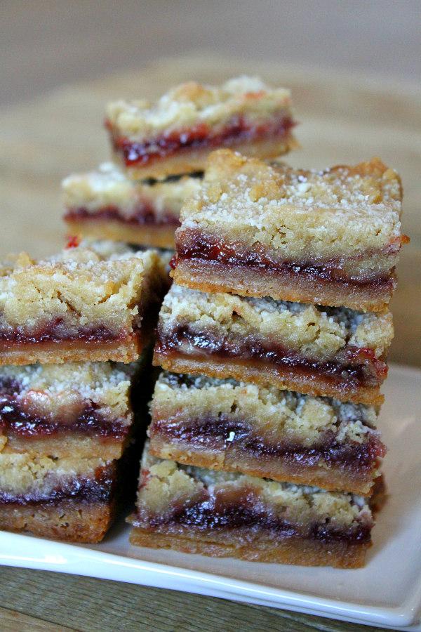 stack of Raspberry Shortbread Bars