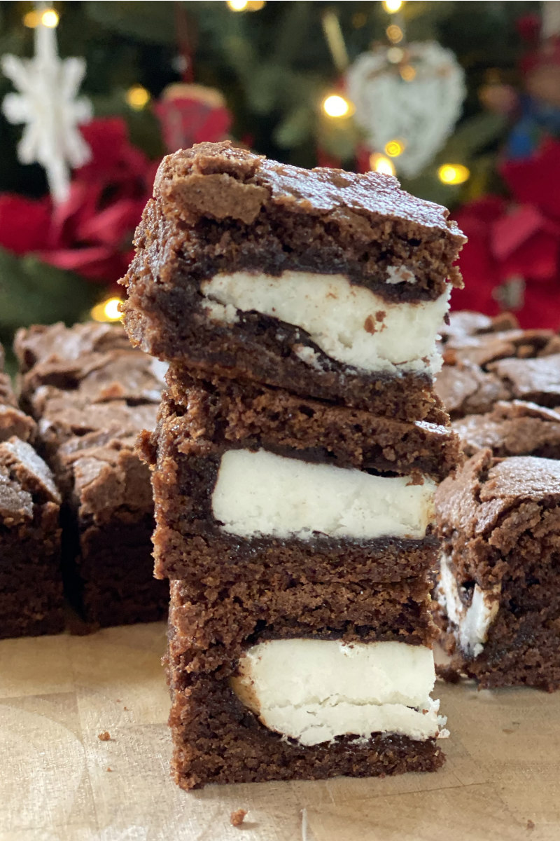 stack of Peppermint Brownies