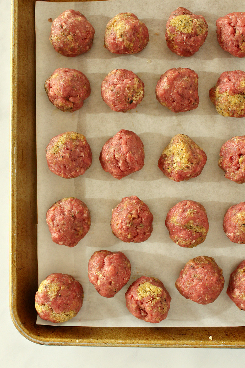 Easy Homemade Meatballs ready for the oven