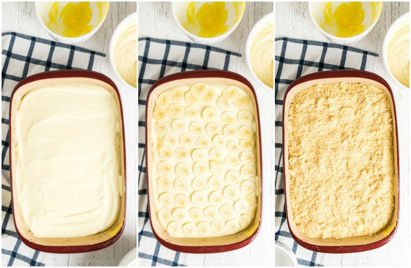 collage showing how to layer banana pudding in a serving dish
