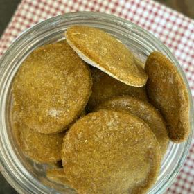 pumpkin peanut butter dog biscuits in a jar