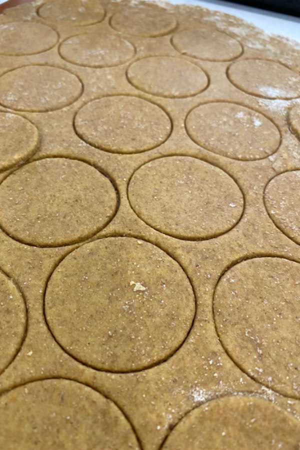 cut out dough of pumpkin peanut butter dog biscuits